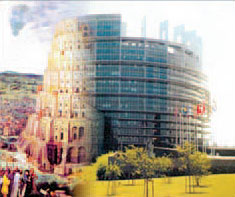 Montage of Brugel - Tower of Babel and the EU Building